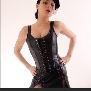 Steel boned leather corset renn Sca LARP Cosplay